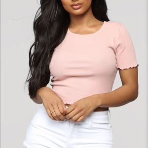 Tops - Blush Cotton cropped Top